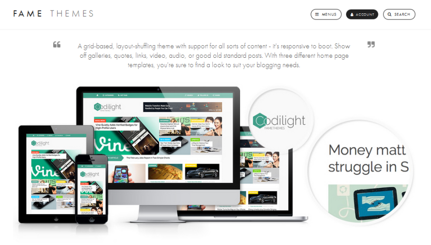 wordpress, wordpress theme, modern, blog, responsive theme, magazine